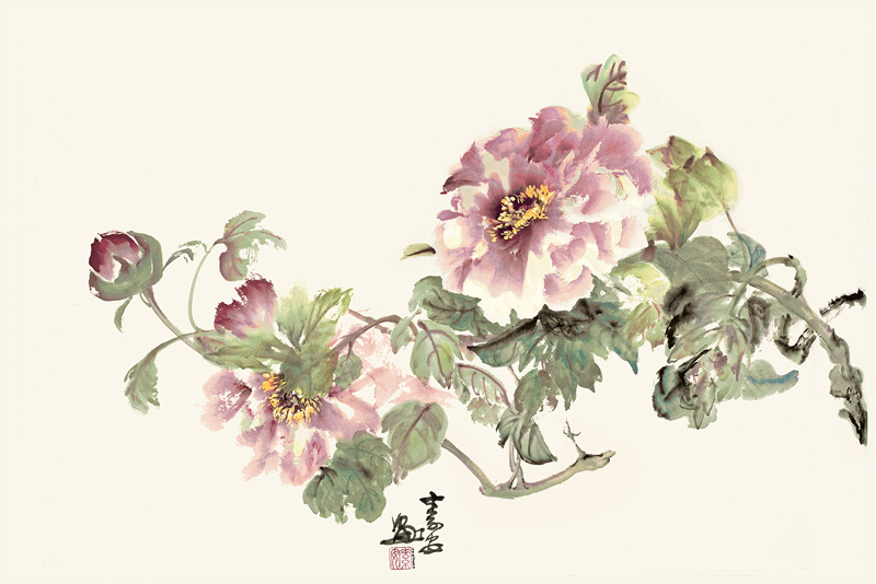 "Peonies after Bao Shen Liu   Chinese ink and watercolor on raw rice paper, 18"" x 27"""