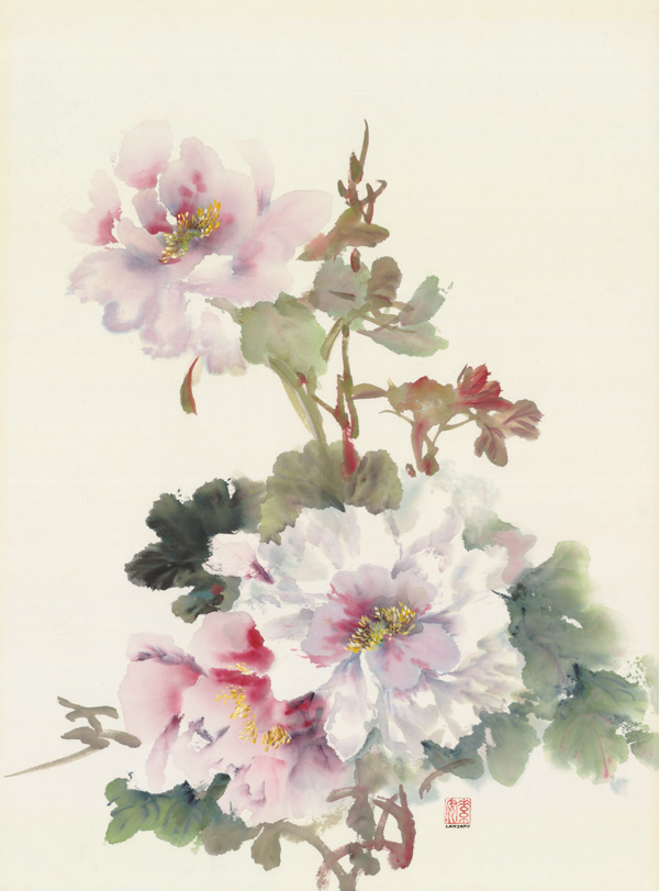 "Three Peonies   Chinese ink and watercolor on raw rice paper, 25.5"" x 18"""