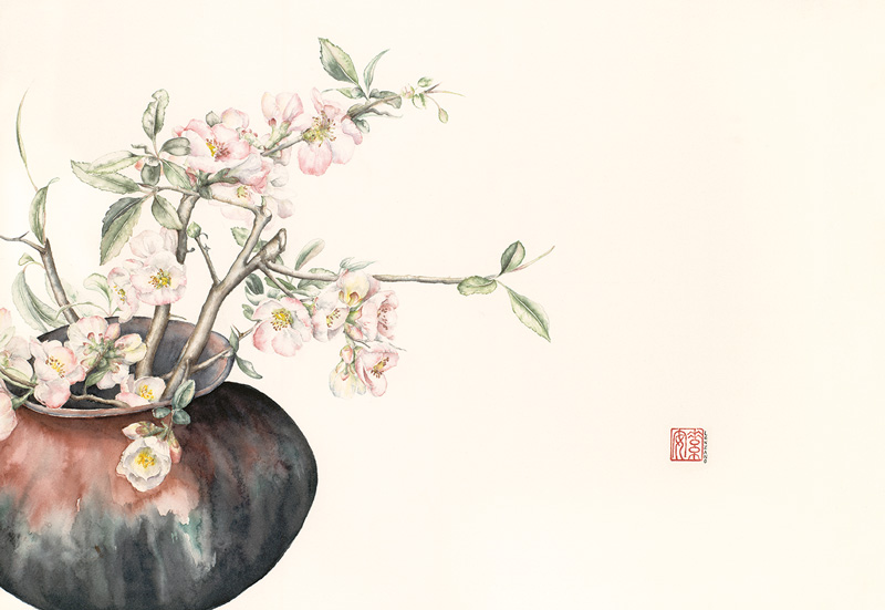 "Quince Branches in a Raku Vase   Watercolor on 140-lb. cold-pressed Arches, 13"" x 19"""