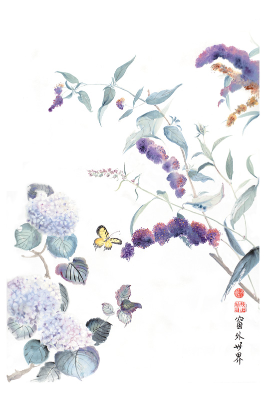 """The World Through My Window   Chinese ink and watercolor on raw rice paper, 27"""" x 18"""""""