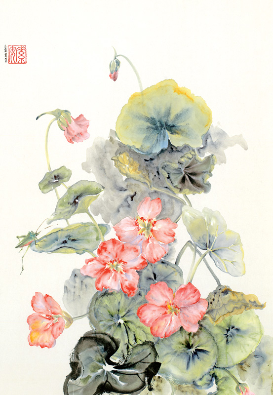 """Nasturtiums and Grasshopper   Chinese ink and watercolor on raw rice paper, 16"""" x 10.5"""""""