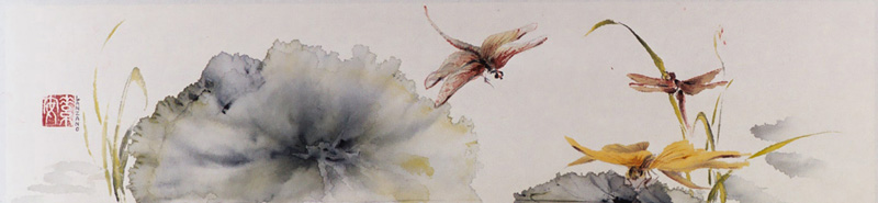 Three Dragonflies   Chinese ink and watercolor on raw rice paper , 3.5 x 15.5
