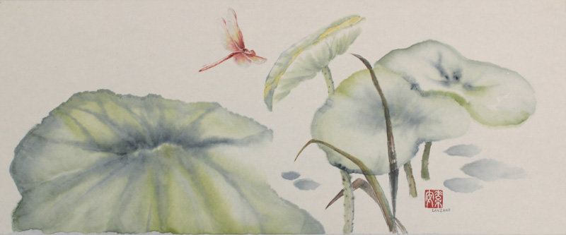 """Dragonfly on Lotus Pond    Chinese ink and watercolor on raw rice paper, 7.5"""" x 18.5"""""""