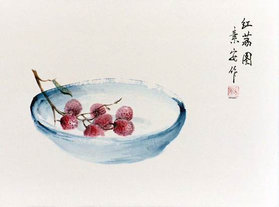 """Life is Just a Bowl of Lychees    Chinese ink and watercolor on raw rice paper, 13"""" x 18.5"""""""