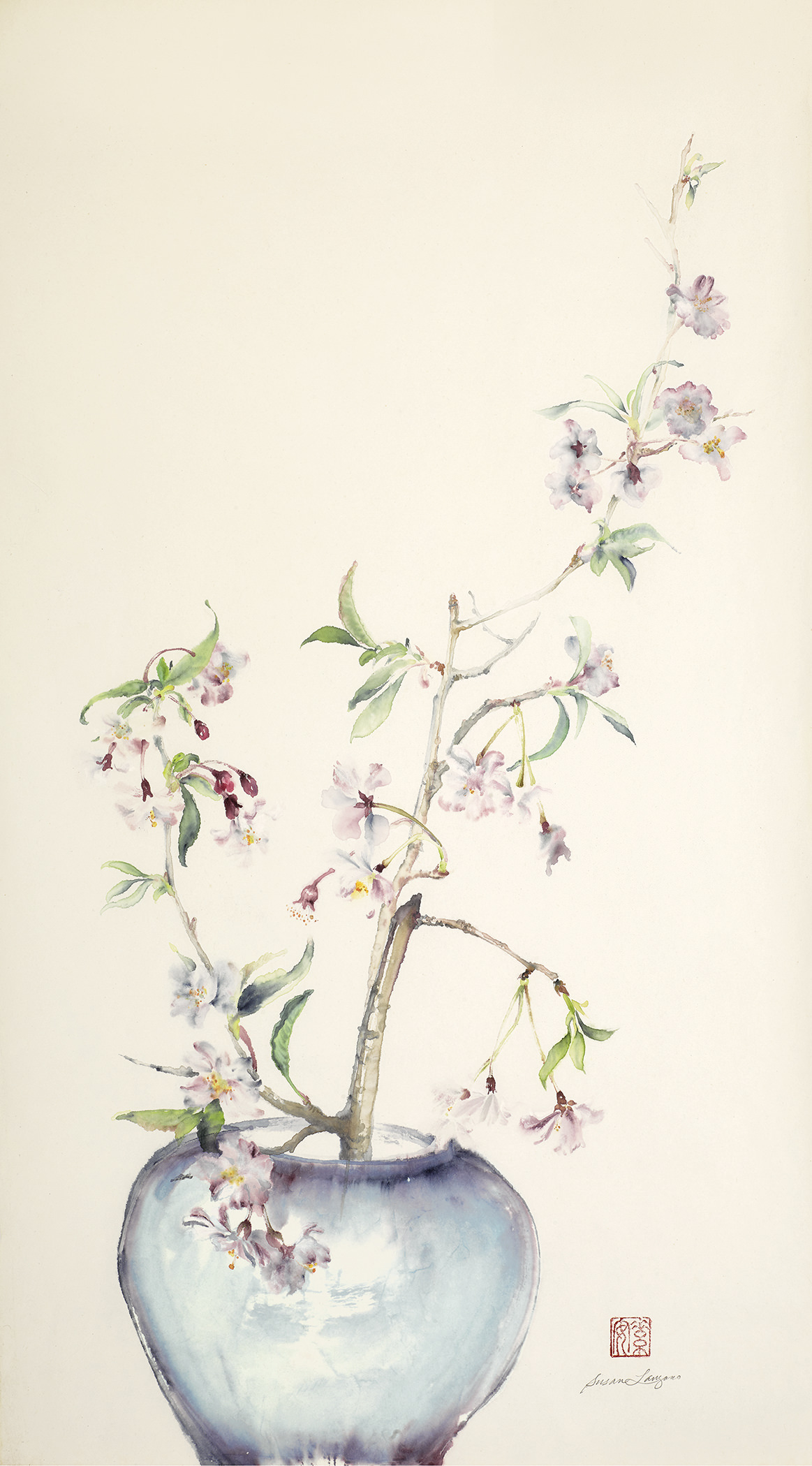"Weeping Cherry Branches in a Vase  Chinese ink and watercolor on raw rice paper, 27"" x 4.5"""