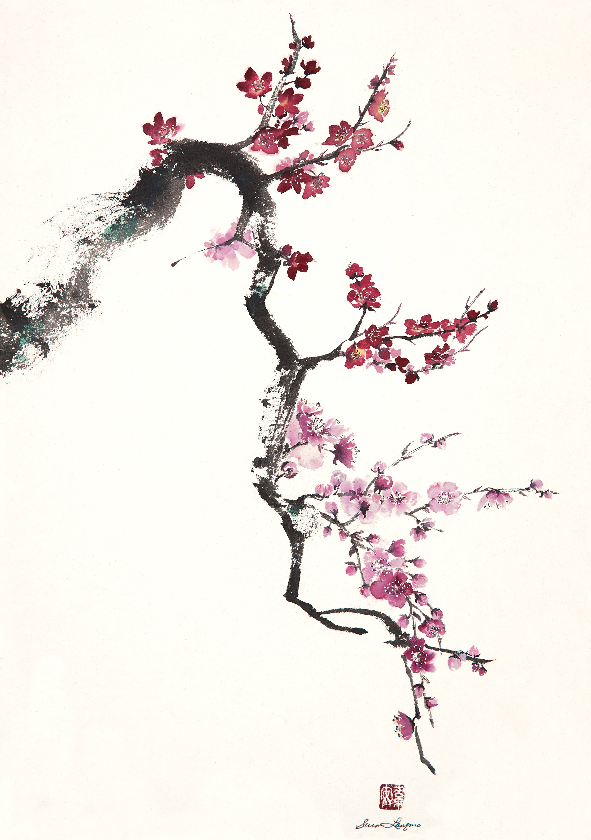 "Plum Branches 3   Chinese Ink and Watercolor on Semi-sized Rice Paper, 19"" x 13"""
