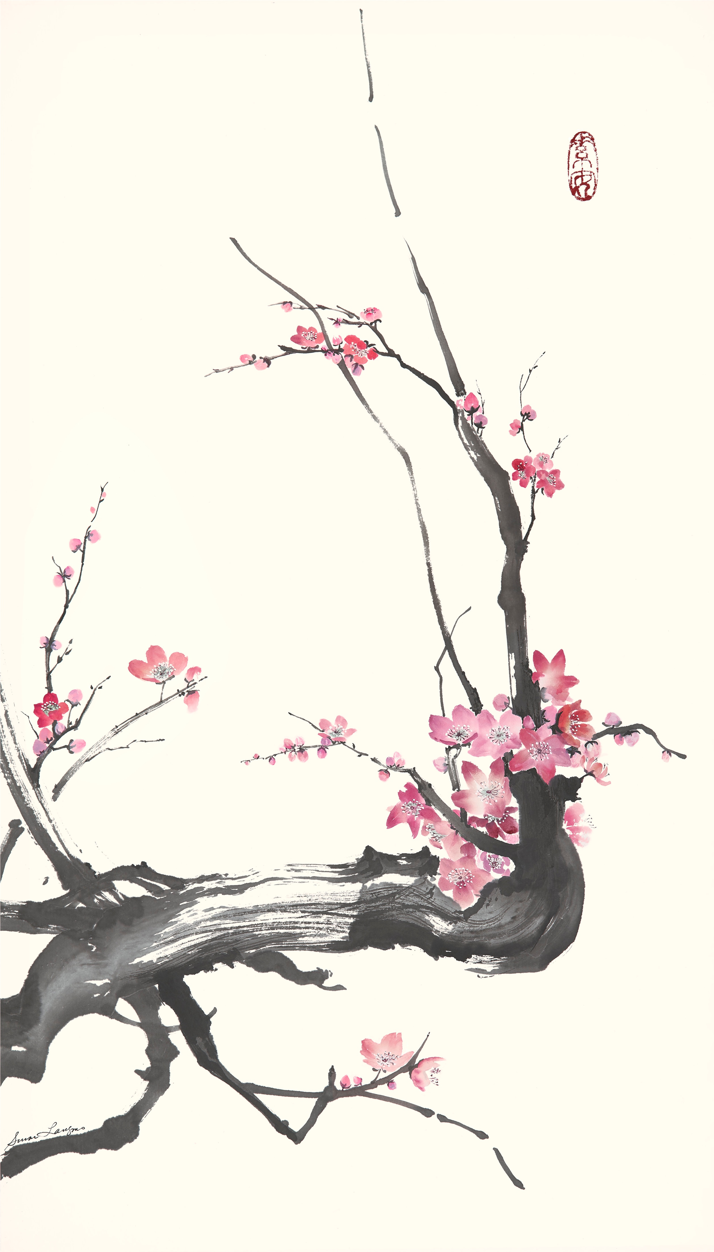"Plum Branches 1   Chinese Ink and Watercolor on Raw Rice Paper, 27.5"" x 17"""