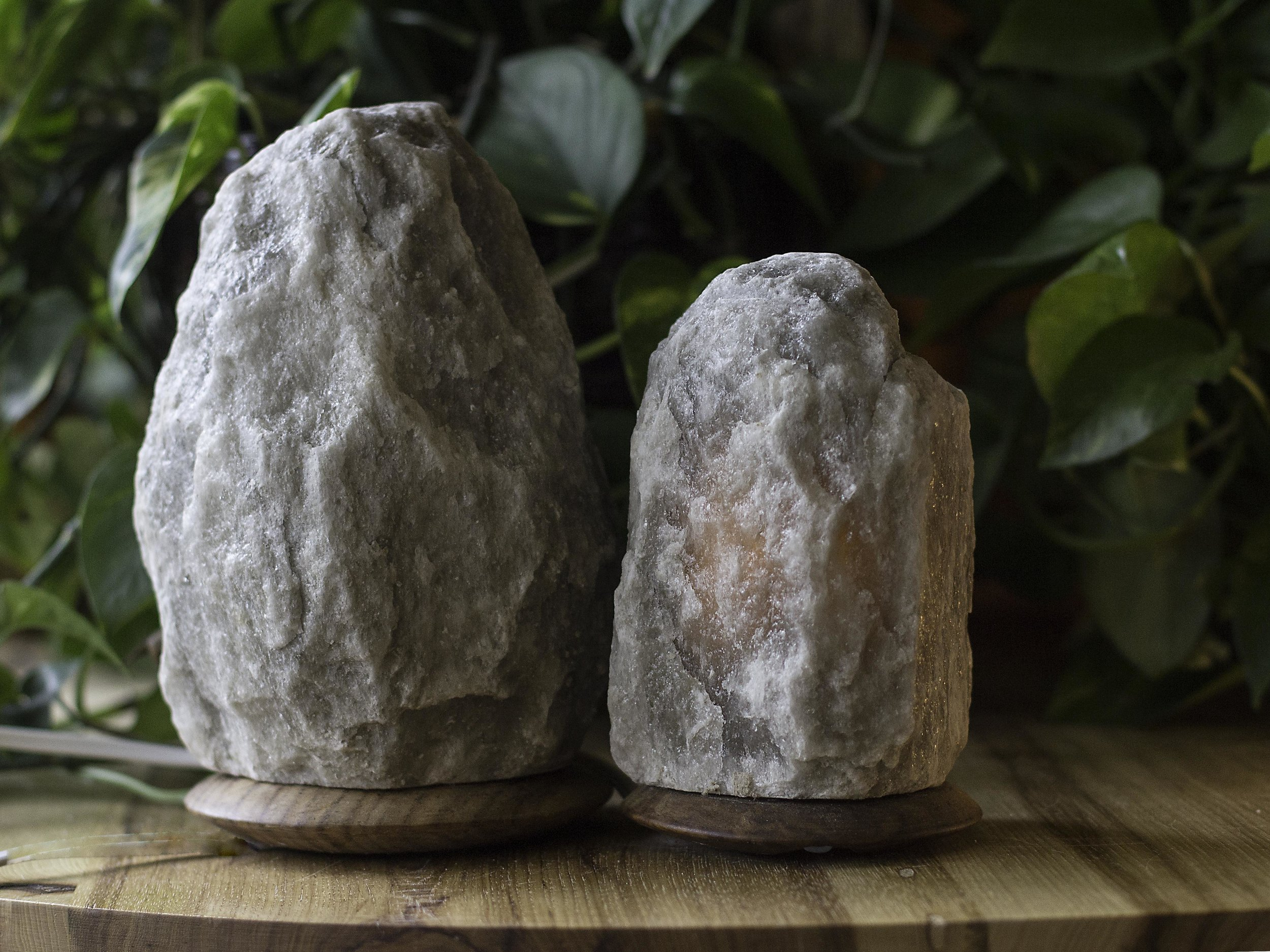 Himalayan salt lamps in an unusual soft gray from So Well