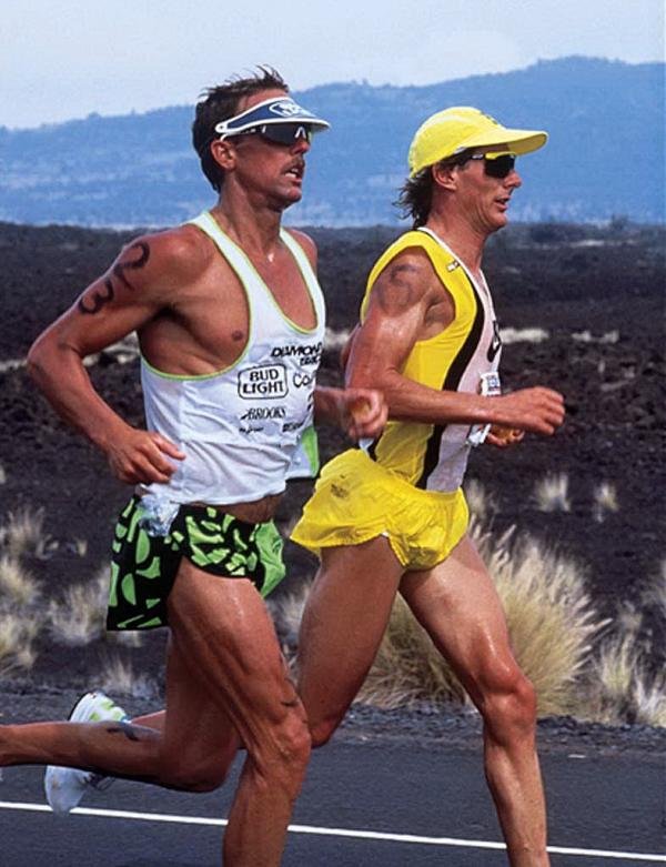 Mark Allen (closest) and Dave Scott during the 1989 Hawaii Ironman. They were side by side for 7 hours, 58 minutes.