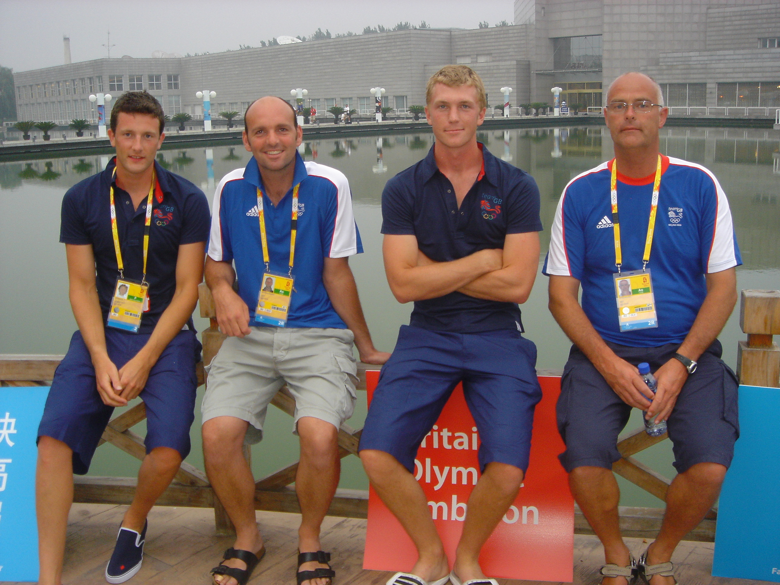 2008 Beijing Olympic spares with coaches on the night of the opening ceremony. (Left to Right: Tom Parker, Jonny Singfield, Alex Gregory, Pete Shepherd)