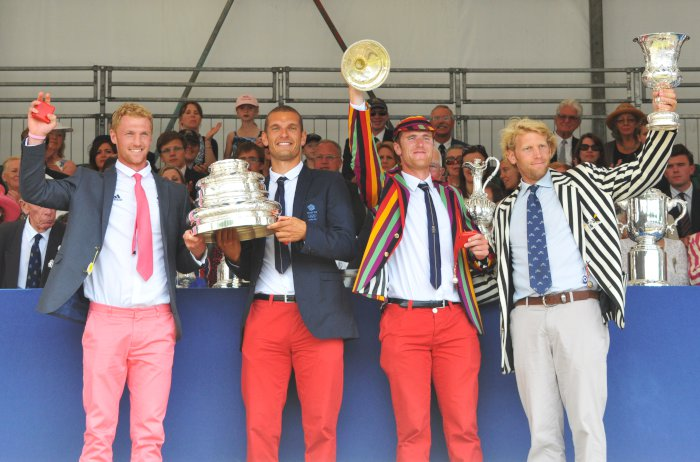 Receiving our awards...red trousers and all!