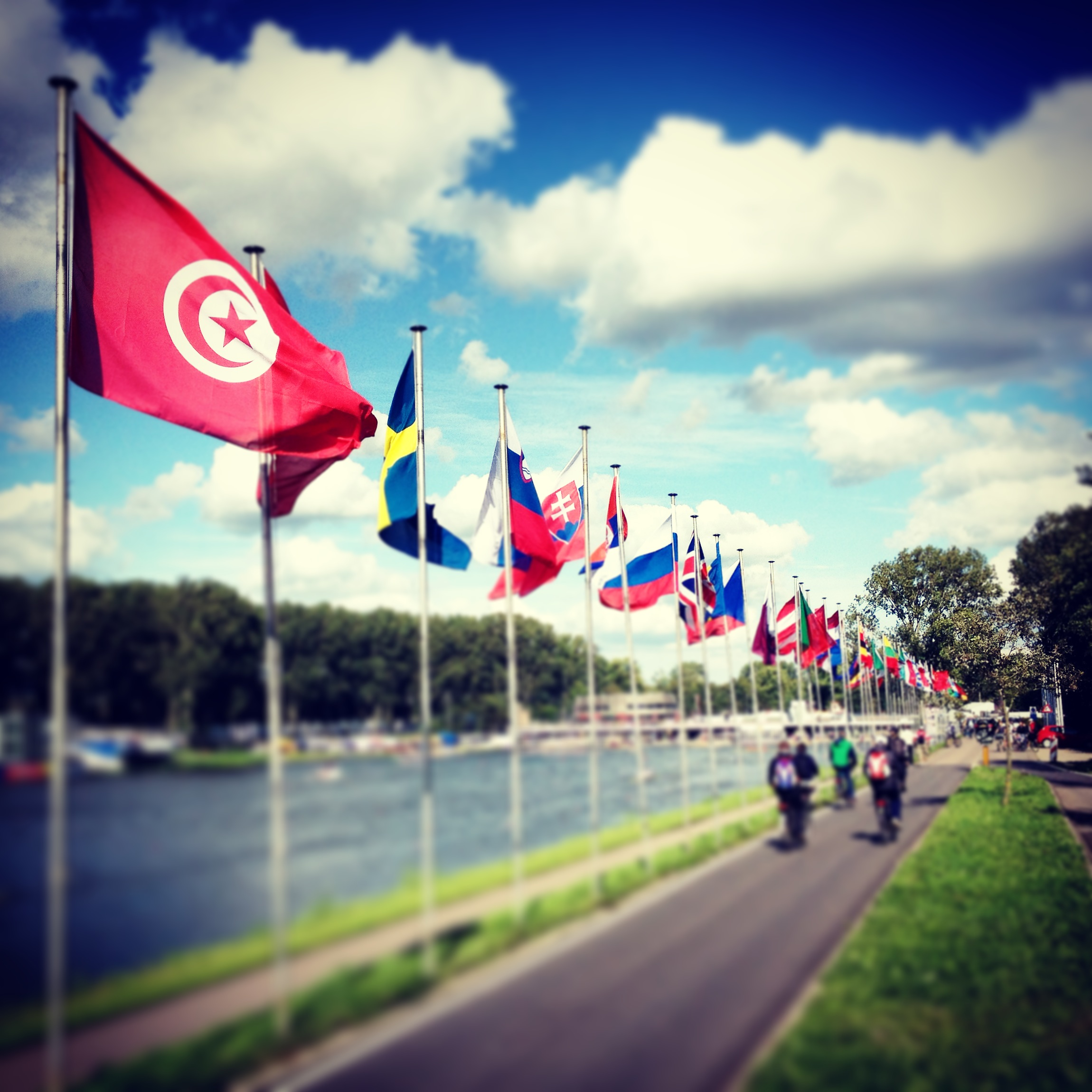 Where all the countries meet - The flags along the course representevery nation that is there to compete.