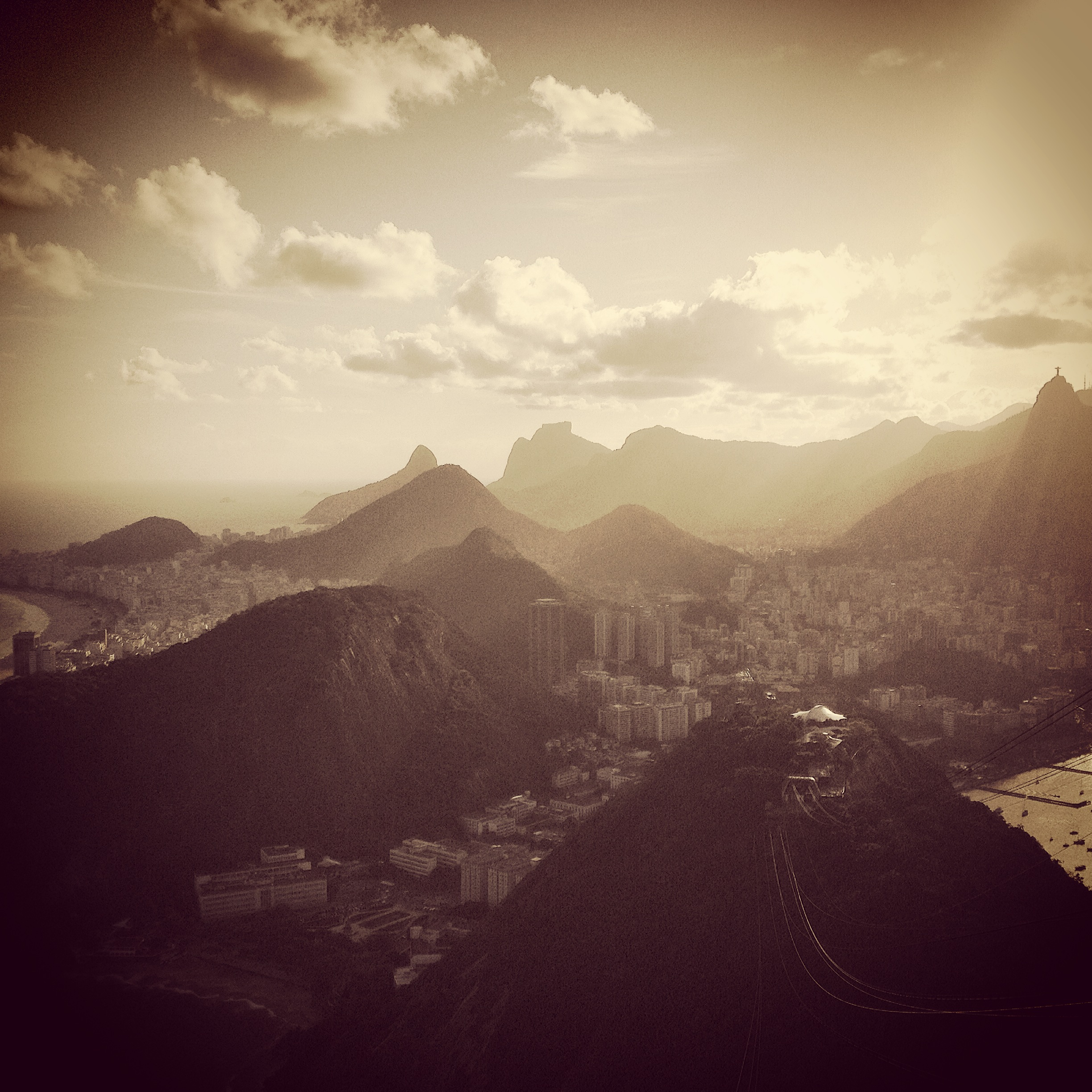 An evening view over Rio from Sugar Loaf mountain.
