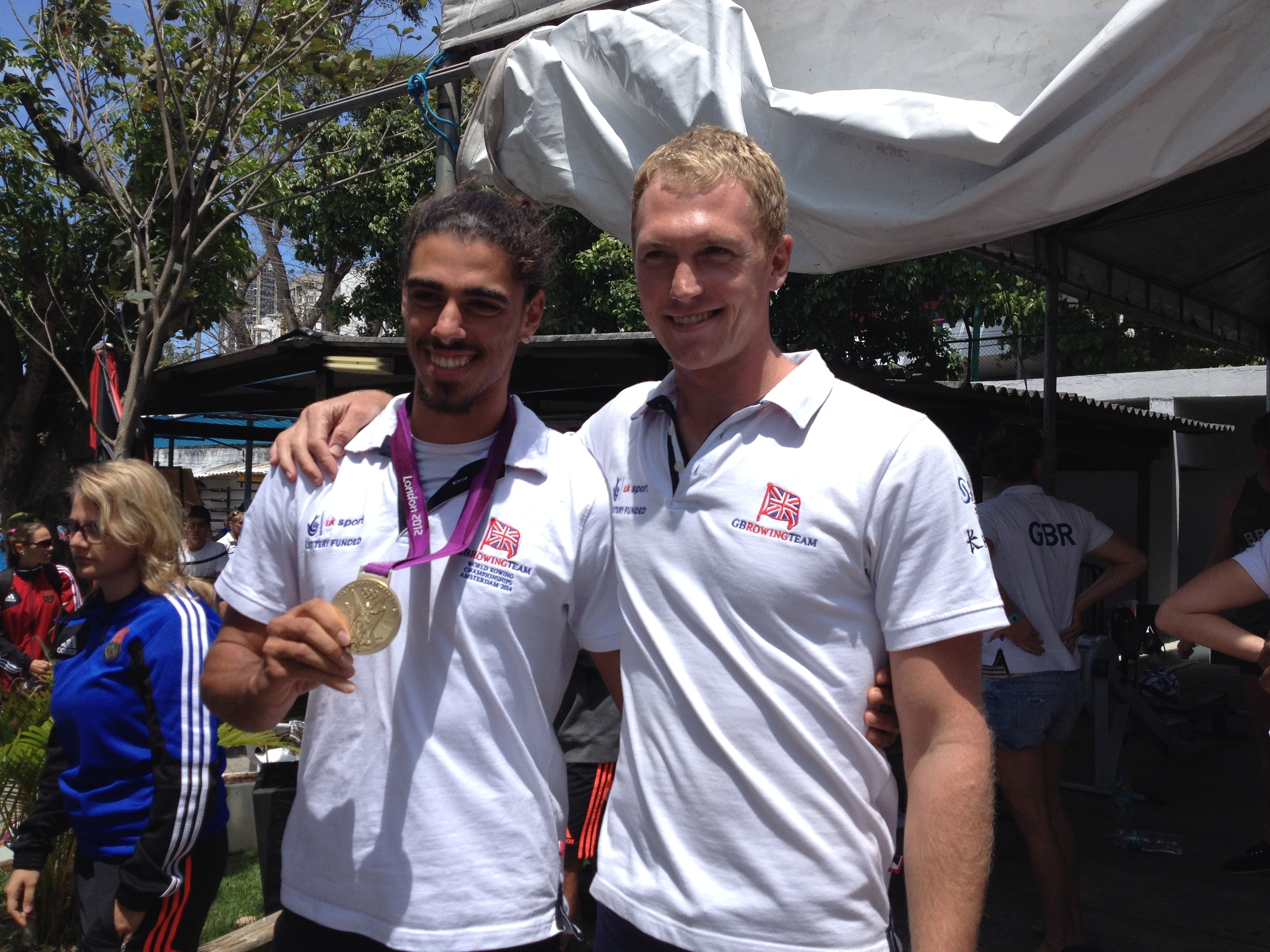 My Brazilian friend with my medal - he'll be racing for one of those on his lake in 2016!