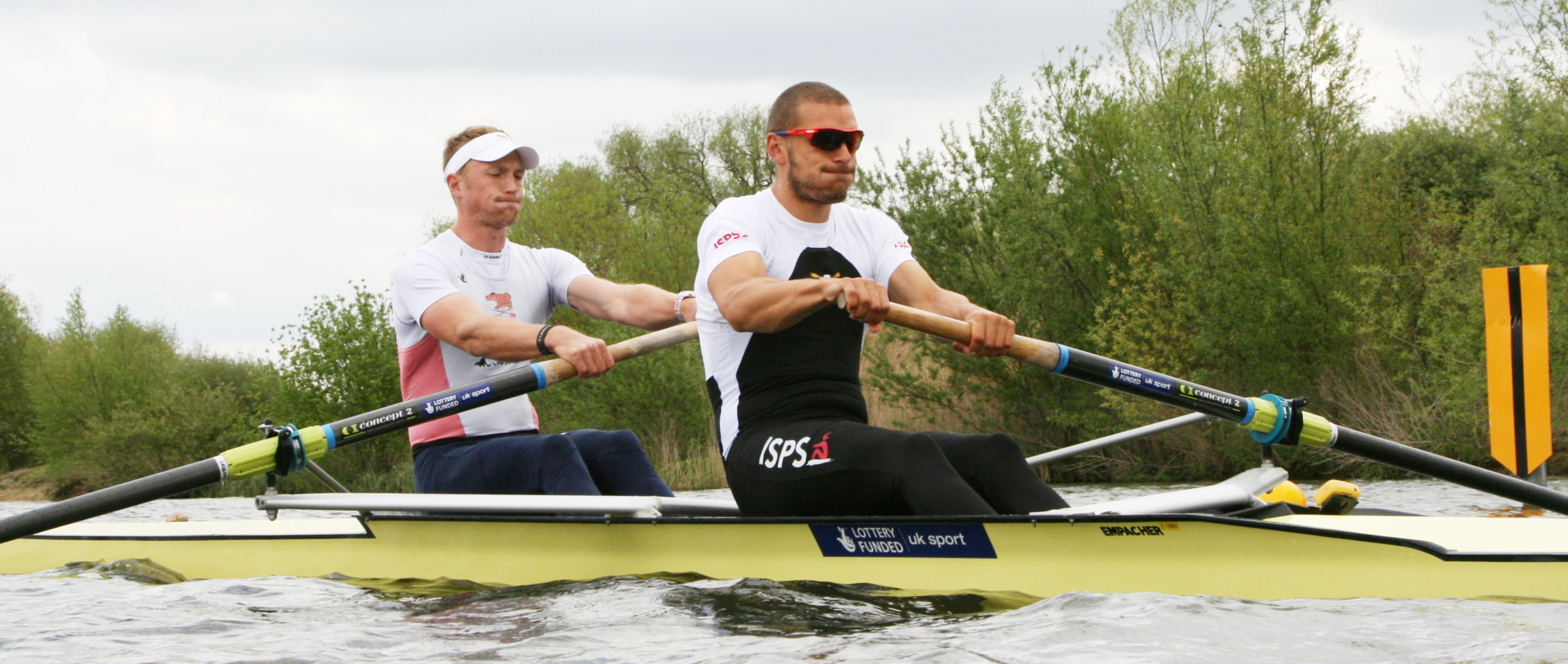 Moe and I taking our first stroke at last year's final trials. We spend hours perfecting those facial expressions!