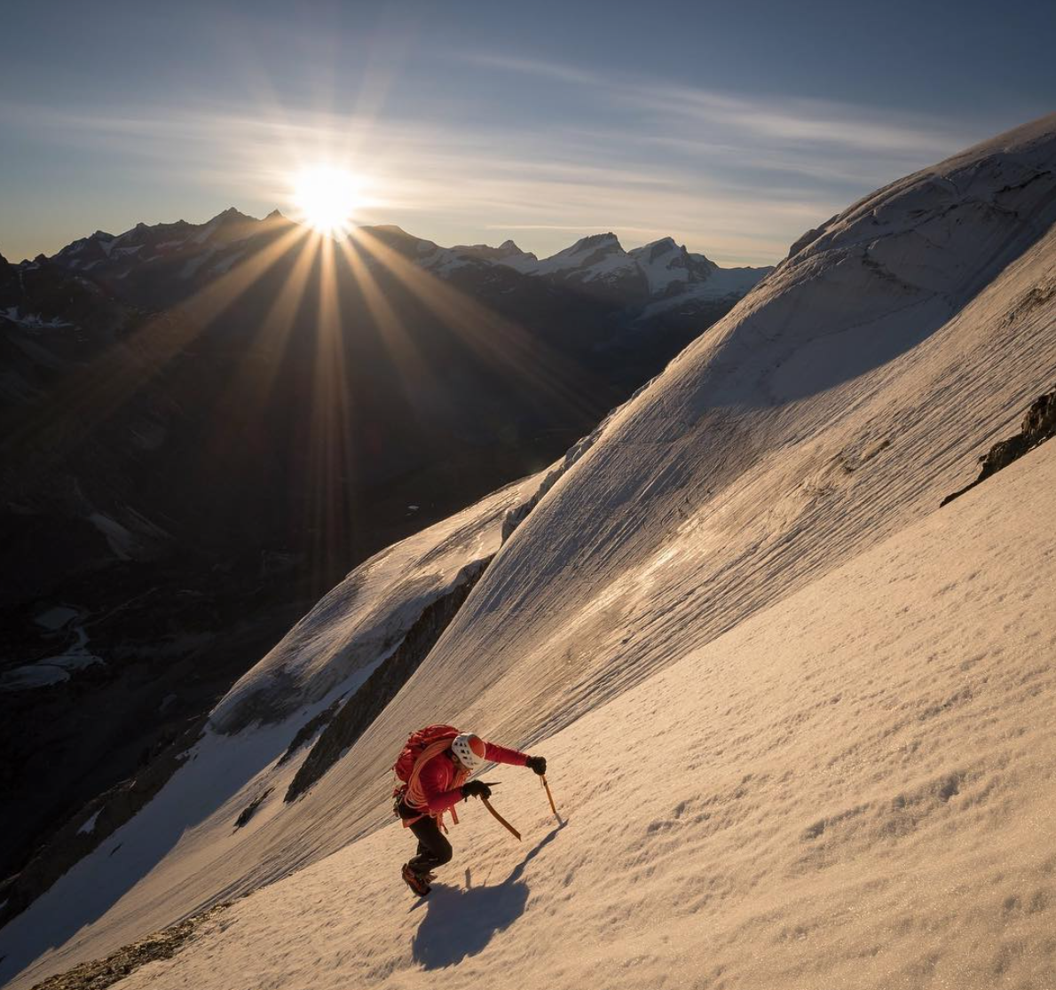 Julien Irilli racing under the North Face towards the the Zmutt Ridge of the Matterhorn.