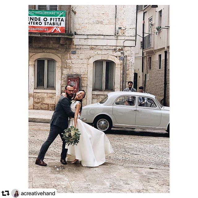 Just married joy ✨  Huge congratulations to Karen & Alex #repost @acreativehand ・・・ One month ago today, I married my best friend @alex__covella in his home town of Gioia del Colle in Puglia 🇮🇹. We were surrounded by family and friends who had travelled far and wide to celebrate with us. Seeing them all waiting for us outside the town hall as we pulled up made us 😭😭. We couldn't have wished for a better day with all the love, laughter and ridiculous amounts of Italian food 🍝. These moments, taken by friends 📸, always bring a smile to my face. I want to do it all over again... minus all the planning and pre-wedding arguments. . 7 September 2019 💕 . #karenandalexinpuglia #gioiadelcolle #weareinpuglia