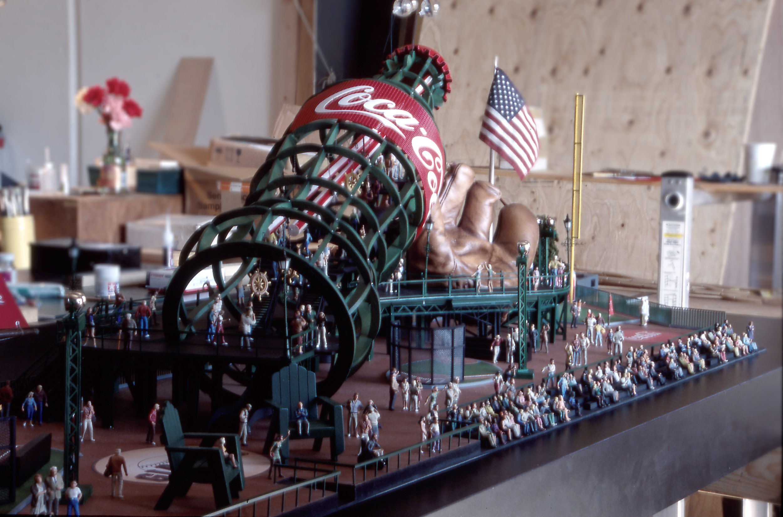 Giant Mitt and Coca-Cola Bottle Slide Scale Model