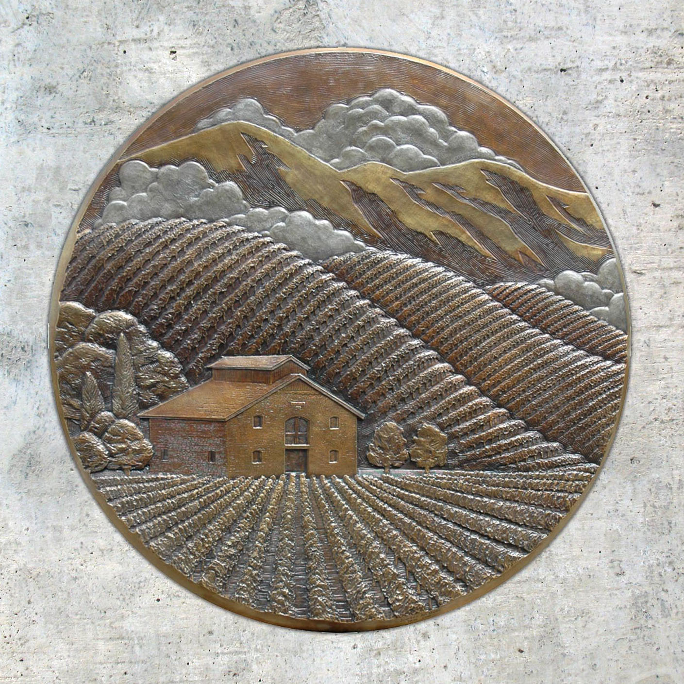 Pride Mountain Vineyards : 3' bas-relief bronze logo plaque  St. Helena, CA