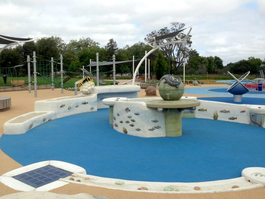 This playground is a nature and art inspired play space designed to be fully accessible