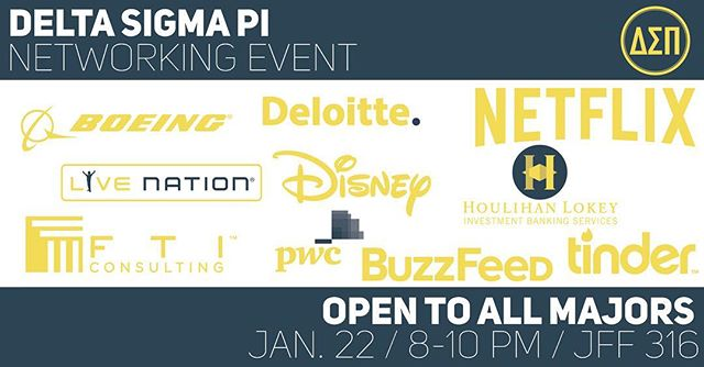 Don't forget that TONIGHT at 8:00 PM we are having our Networking Event! Open to all majors, just be sure to dress business professional! Be sure to bring those resumes because there are some incredible companies that will be there! We cannot wait to see all of you guys out there! #networking #dsp #professional #disney #netflix #buzzfeed