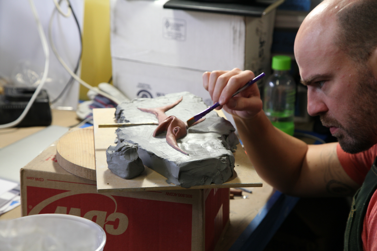 Rob Saunders, lead puppet fabricator, working on something cool.