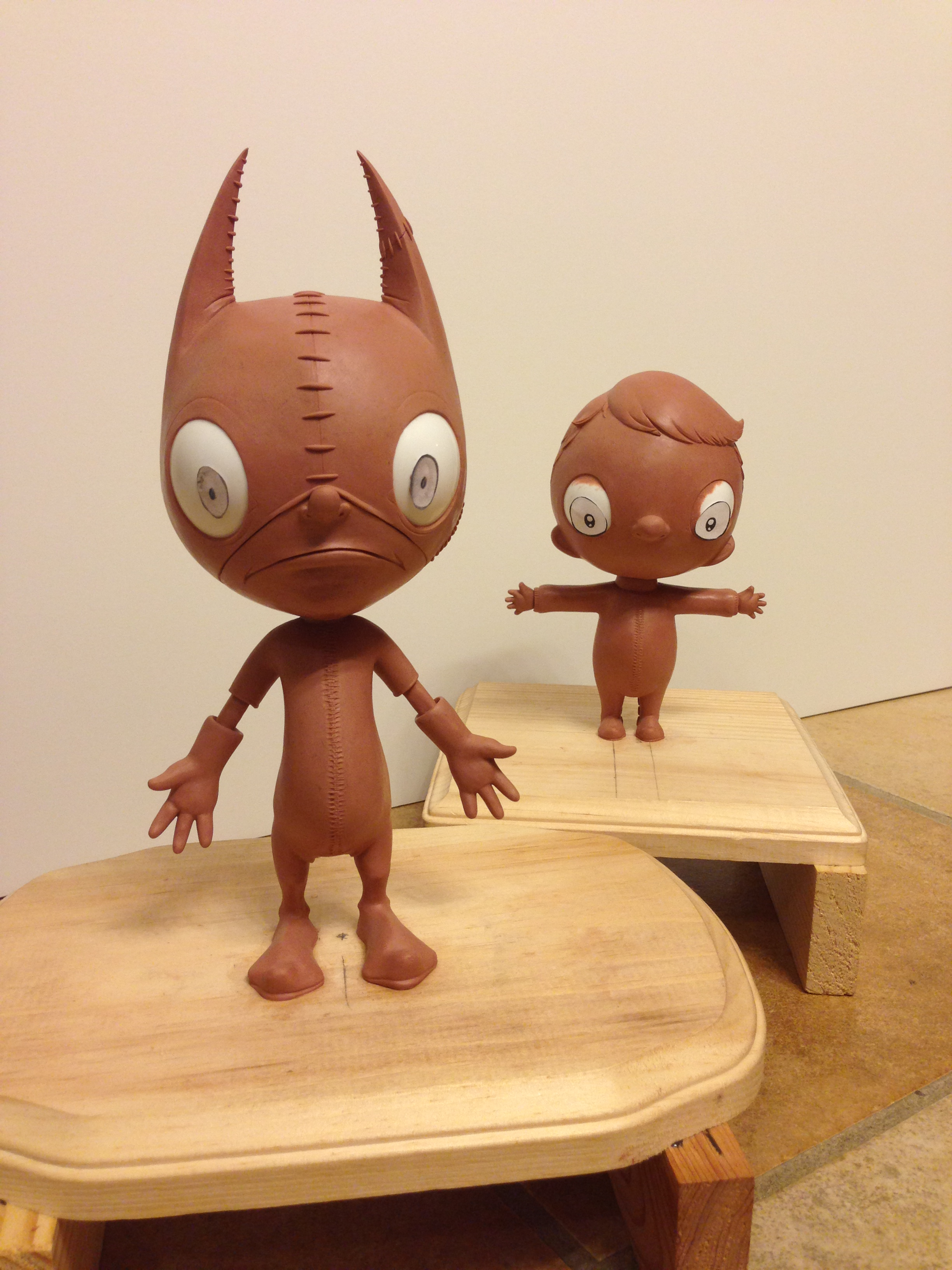 Ralf and Crumbs, sculpted in clay.