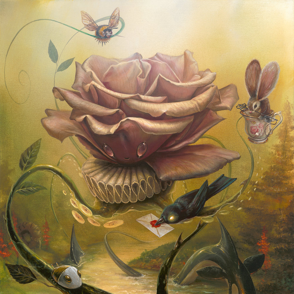 """Passing Notes  20"""" x 20"""" Acrylic on canvas wrapped panel Greg """"CRAOLA"""" Simkins,2014"""