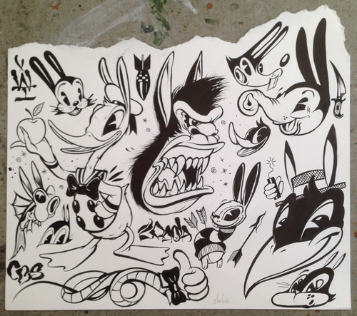 Cartoon Tattoo Flash Study (framed)   12 x 14 in.   Ink    INQUIRE