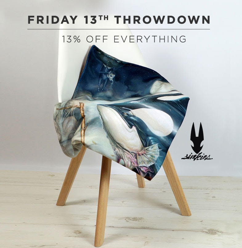 "*13% OFF ALL WEEKEND, USE THE PROMOCODE 'FRIDAY13'...  It's getting chilly out there! To help with these winter nights the folks at  This is a Limited Edition  have launched a collection of giant Limited Edition Throw Blankets. Constructed of an unbelievably soft anti-pill fleece - printed one side - with an even softer faux fur graphite grey back. Limited to just 300 per design.  SHOP NOW !  Plus, you can get 13% off limited edition  pillows  and  ""Strawctopus"" Cup & Saucer Sets  by Greg ""CRAOLA"" Simkins!   *Offer ends Monday, November 16th, 2015"