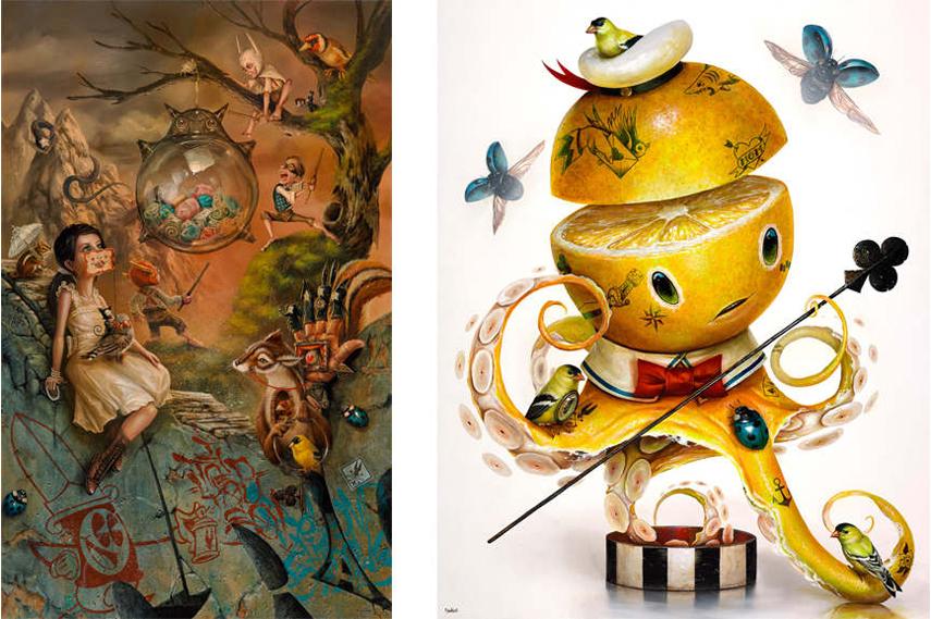 Left:  Greg 'Craola' Simkins – The Glass Pinata /  Right:  Greg 'Craola' Simkins – YELLOW