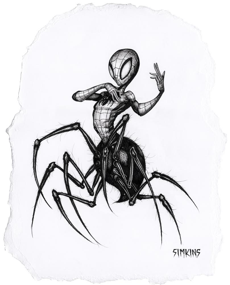 "Spider-Spider-Man (framed)  12"" x 10"" Ink $925 Greg ""CRAOLA"" Simkins, 2018   INQUIRE"