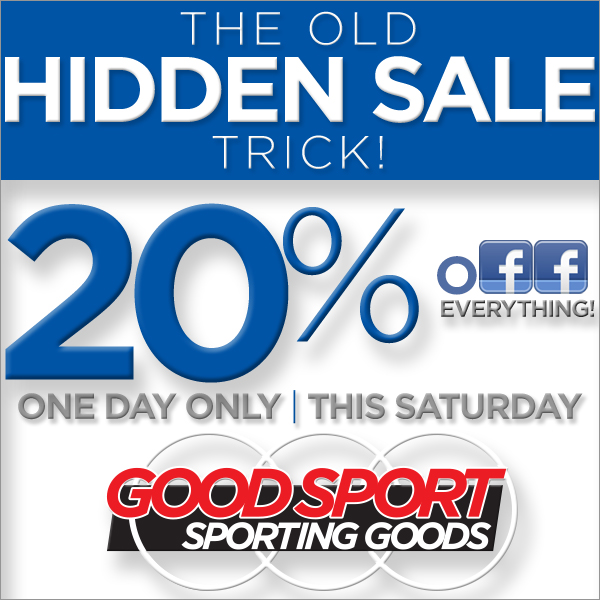 On Saturday, December 14, during store checkout, mention: GORDIE SPORT and receive 20% off your entire purchase.