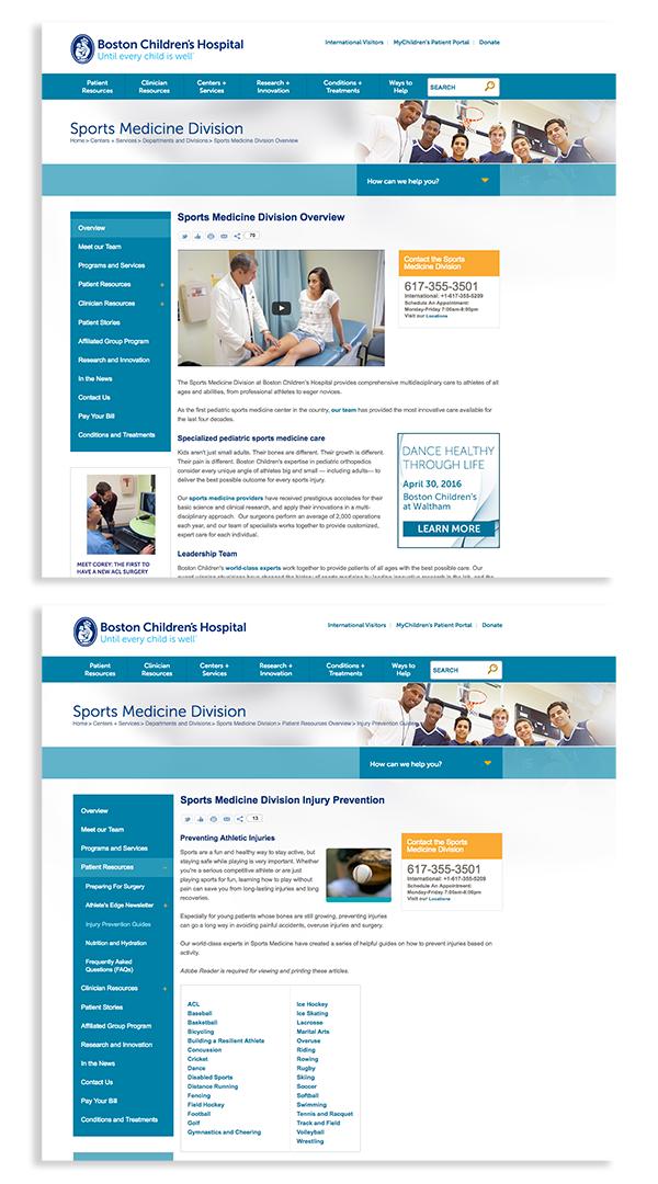 Boston Children's Hospital Sports Medicine Website