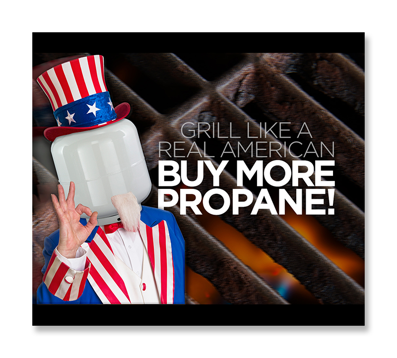 2017: To capitalize on the pro-American BBQ fervor rapidly overtaking backyard cooking facilities, The Good Sport introduced a patriotic-themed message designed to drive backyard cooks away from their charcoal grills (choke, choke, cough, cough) and back to clean-burning propane!