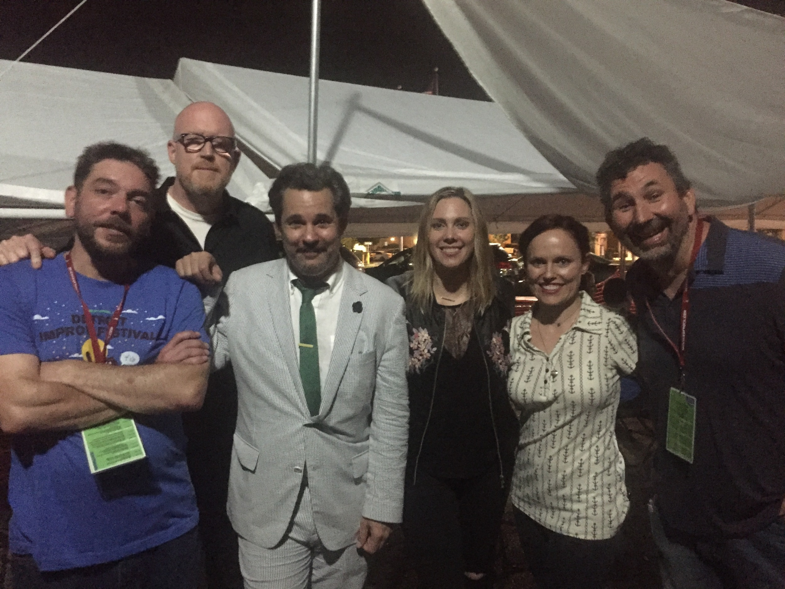 """""""DIF ALLSTARS"""" performed on Saturday August 13th at 10pm. (Photo courtesy of Amy Phillips)   Detroit Improv Fest Allstars with Amy Phillips, Joe Bill, Craig Cackowski, Carla Cackowski, Paul F. Tompkins, and Jaclynn Cherry."""