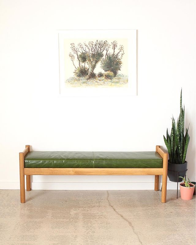 . . . . . #benchdesign #madeinla #whiteoakfurniture  #leatherupholstery #billrakocy #yuccavalley #customfurnituredesign