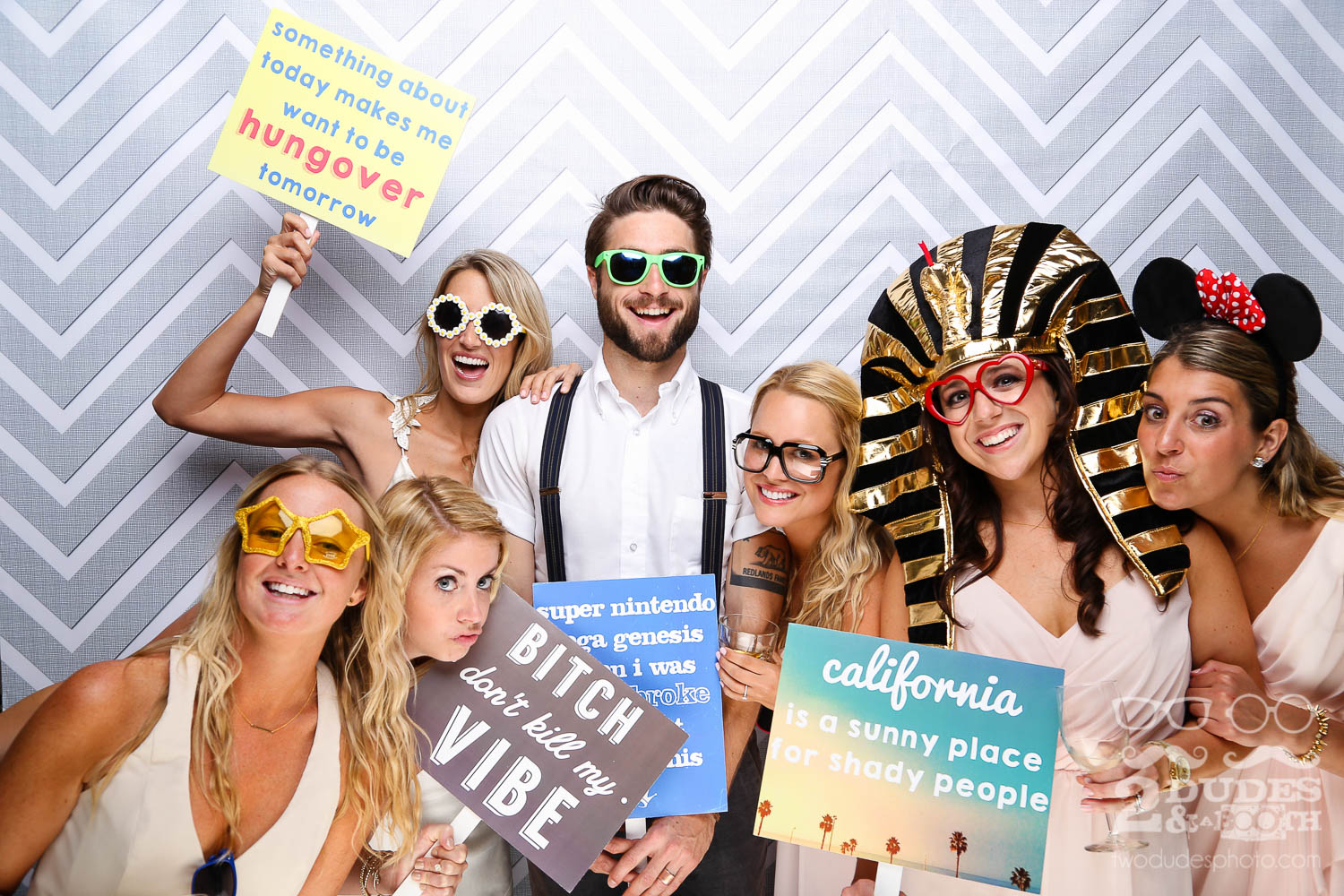 bride and groom with bridesmaids in wedding photobooth in geyserville | san francisco open air photo booth