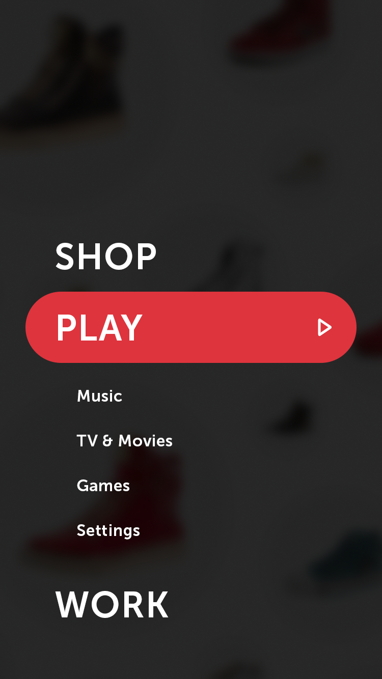 """""""Play"""" section opens and reveals additional menu items"""