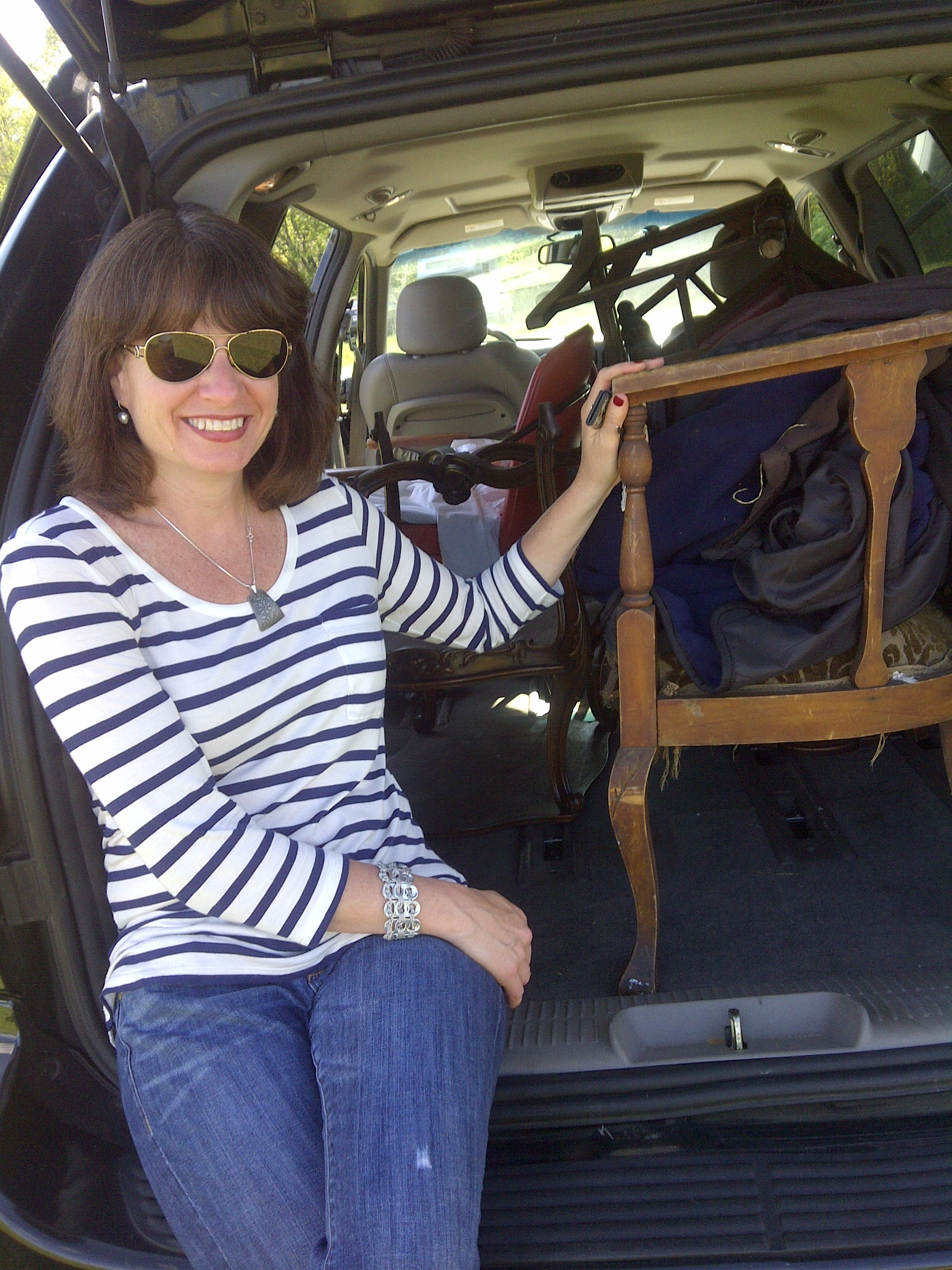 Minivan loaded with great finds at Brimfield Antiques Market in Massachusetts (2013)