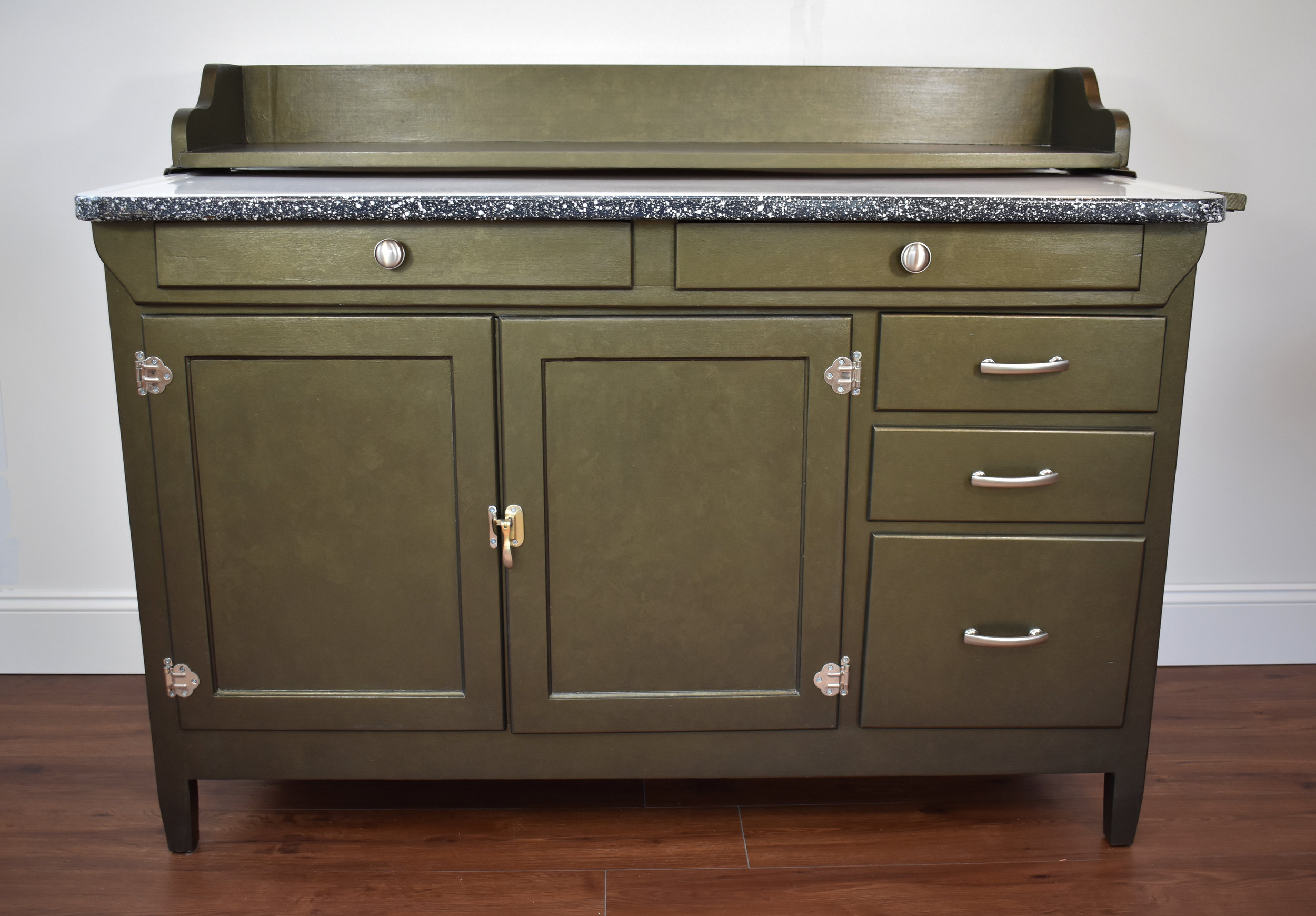 """""""After"""" view of refinished Hoosier cabinet"""