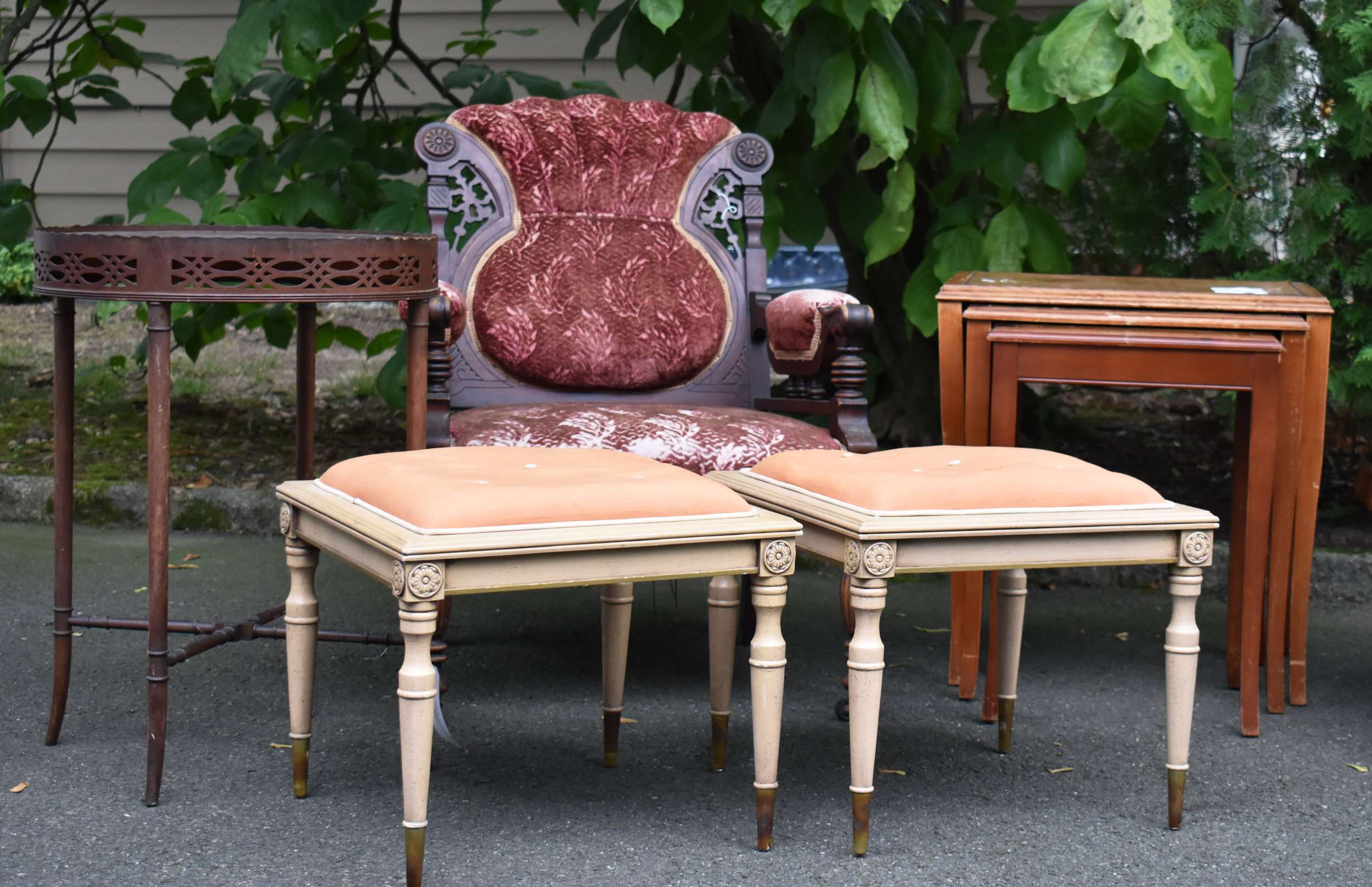 Some of the great finds from Brimfield antiques market (July 2017). Actually, the big chair is from Searsport, Maine.