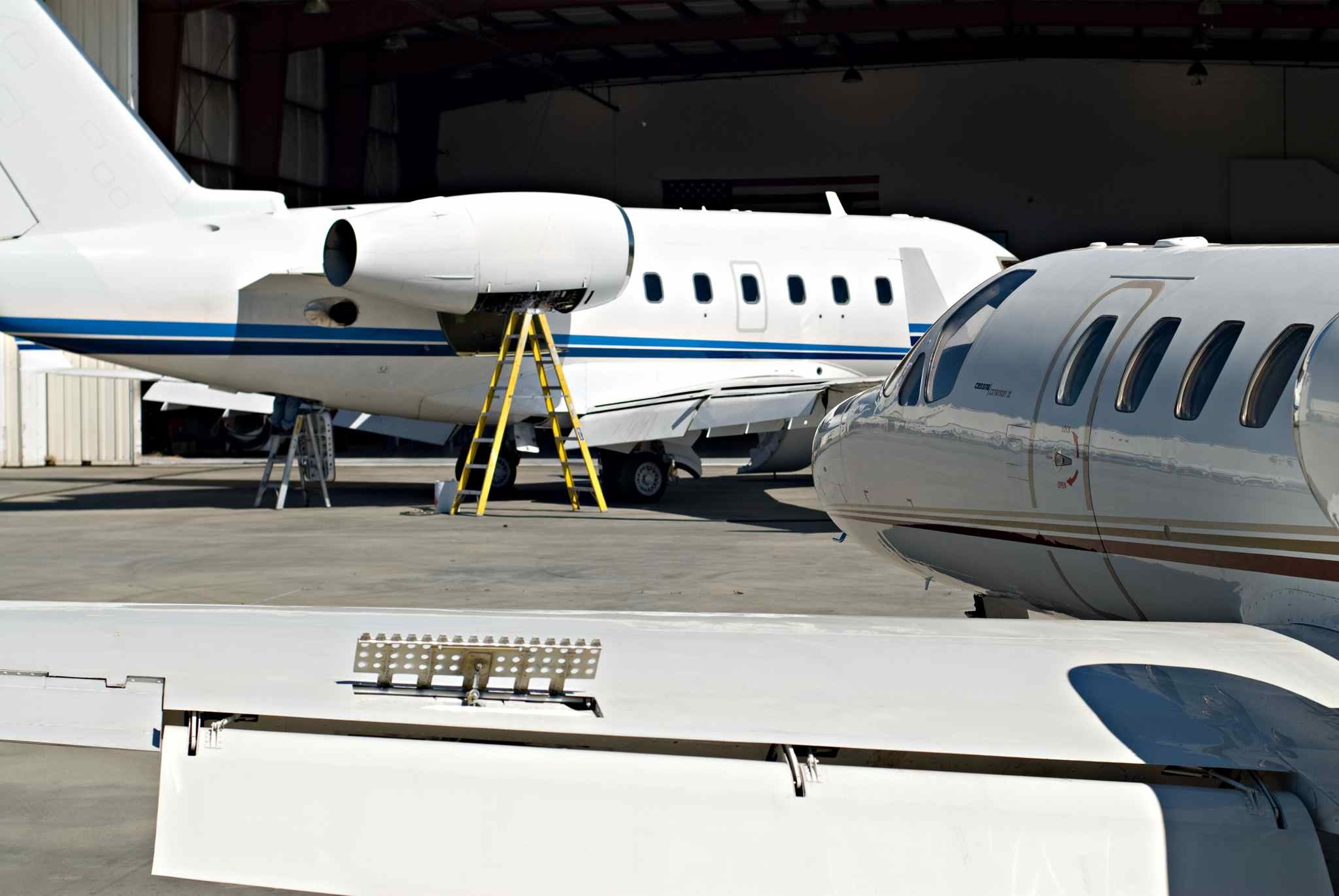 Two inspections occurring, one on the Citation II, the other on a Challenger 600.