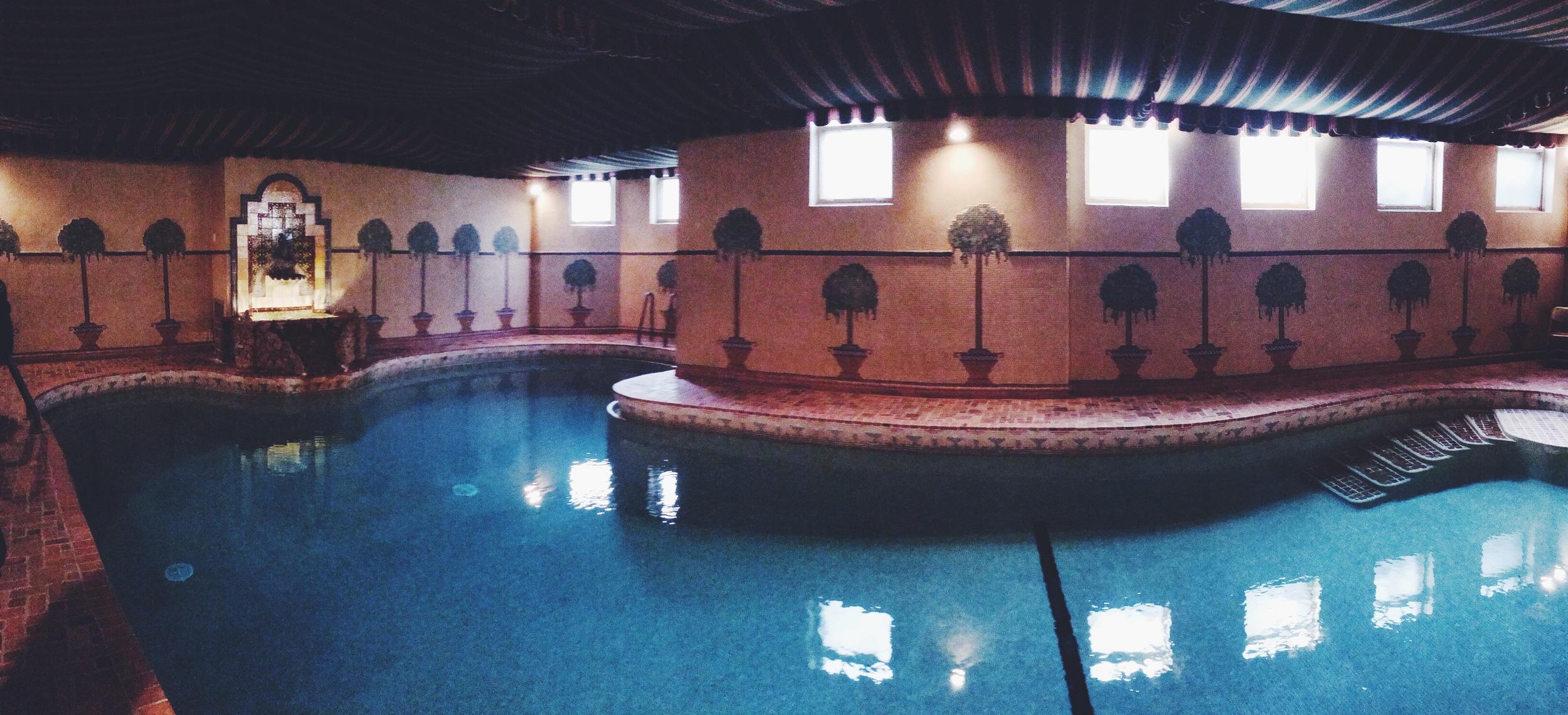 Park Castle's European style swimming pool, circa 1920.