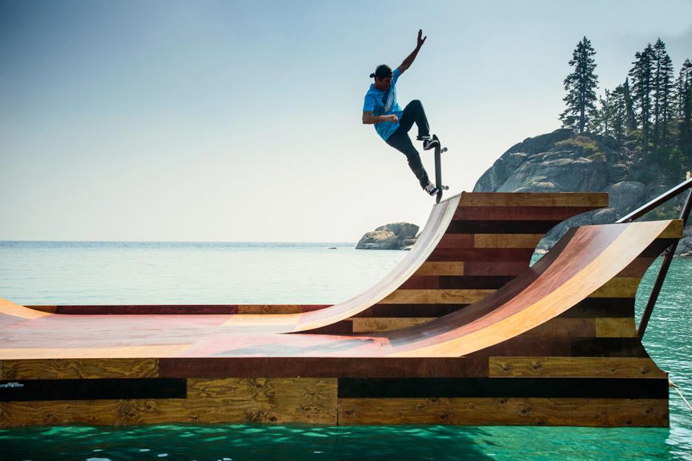 Floating Skateboard Ramp Lake Tahoe Dream Big-California Bob Burnquist
