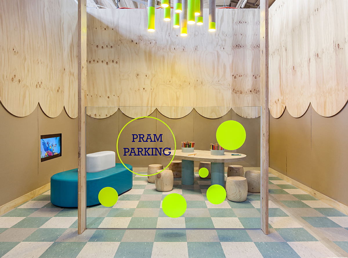 Pram Parking at Playscape by Clare Cousins Architects