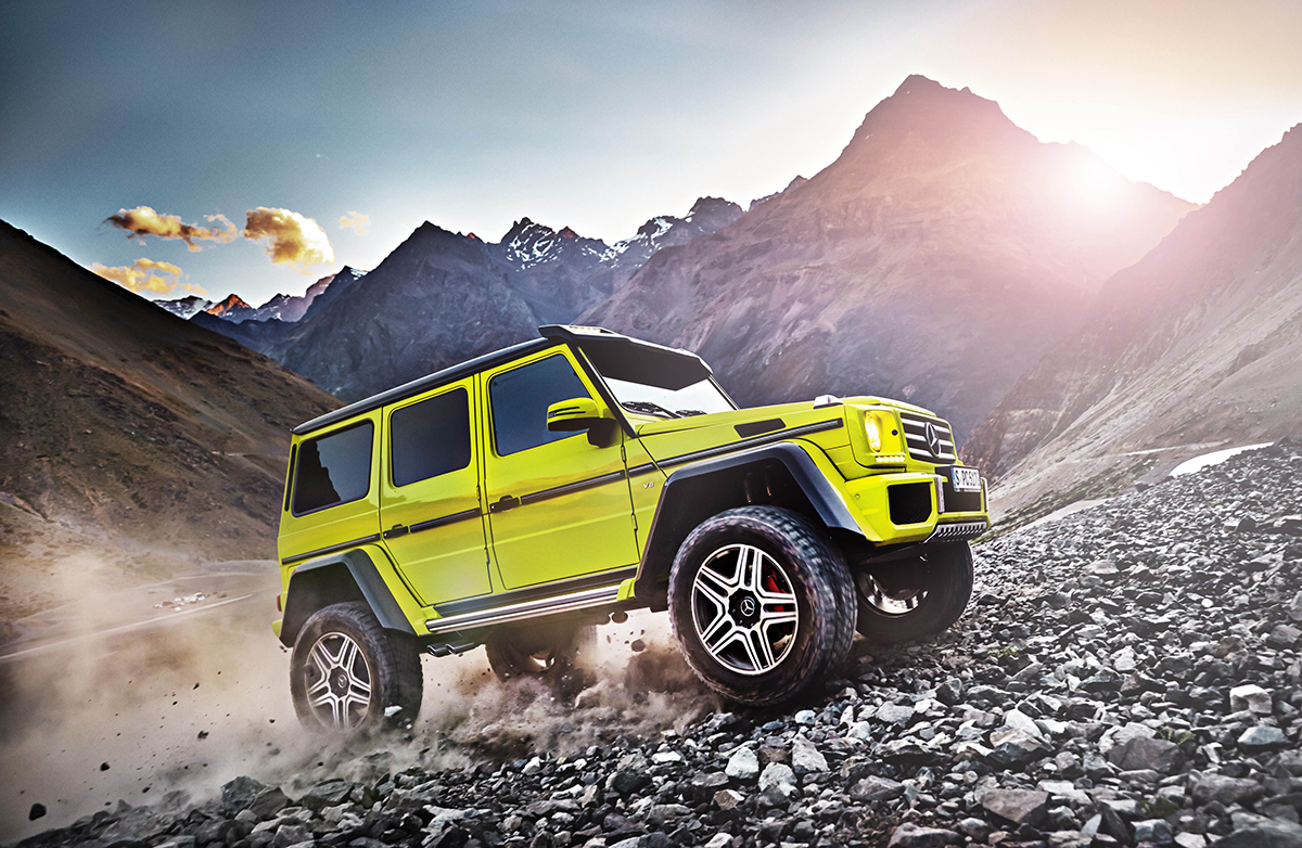 Lime green Mercedes-Benz G 500 4×4² off-road SUV