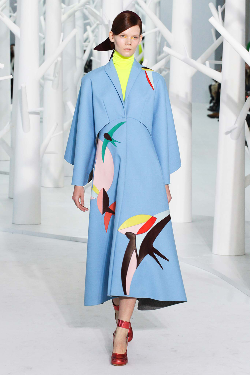Delpozo FW 2015 collection of colorful skirts, print jackets and radical hair bows