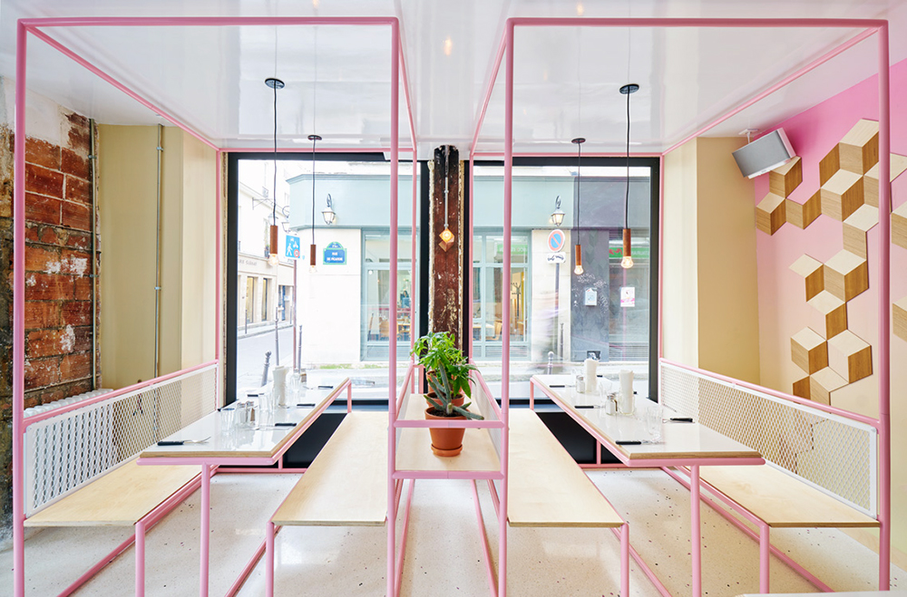 Pink and blue pipes with white fencing at PNY's new Restaurant designed by CUT Architectures | KNSTRCT