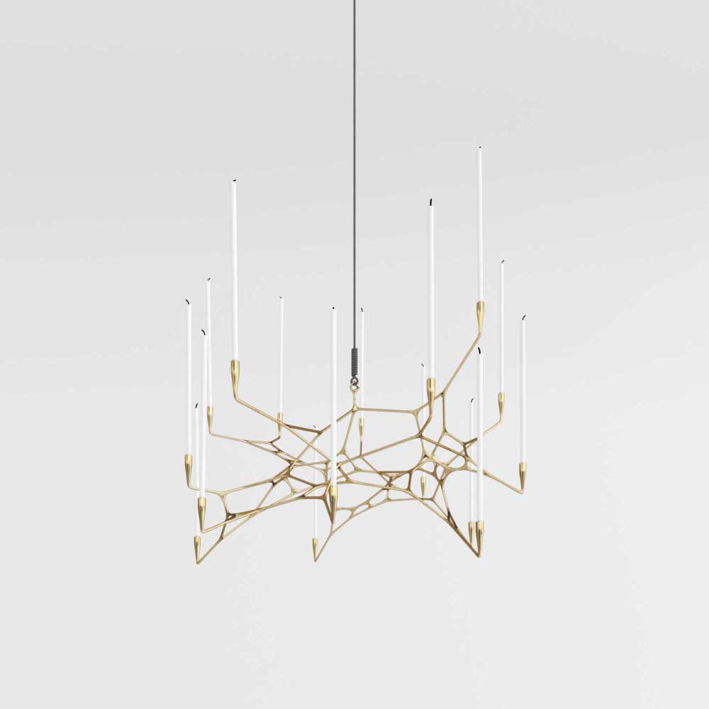 Matter Design crafts asymmetrical, 3D printed, brass casted Knotta Chandelier